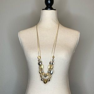 Chico's Gold & Silver Chunky Beads Chain Necklace
